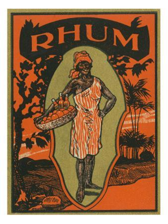 Rhum Woman with Basket of Fruit and Drinks Rum Label by Lantern Press