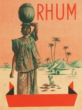 Rhum Woman with Sack on Head Rum Label by Lantern Press