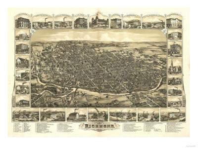 Richmond, Indiana - Panoramic Map by Lantern Press