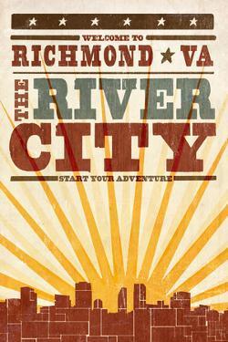 Richmond, Virginia - Skyline and Sunburst Screenprint Style by Lantern Press