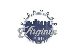 Richmond, Virginia - Skyline Seal (Blue) by Lantern Press