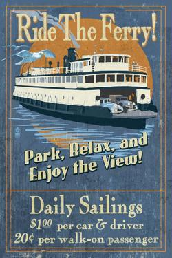 Ride the Ferry (Blue Version) - Vintage Sign by Lantern Press