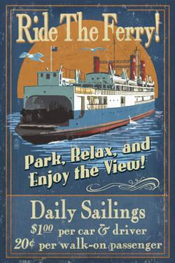 Ride the Ferry (Boat #2) - Vintage Sign by Lantern Press