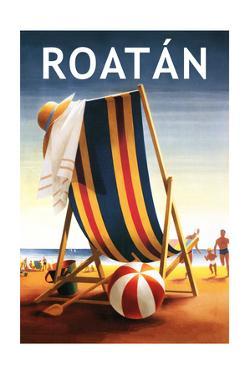 Roatan - Beach Chair and Ball by Lantern Press