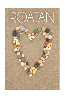 Roatan - Stone Heart on Sand by Lantern Press