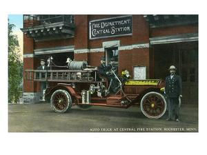 Rochester, Minnesota - Central Fire Station Exterior with Fire Truck by Lantern Press