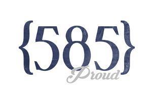 Rochester, New York - 585 Area Code (Blue) by Lantern Press