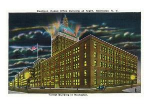 Rochester, New York - Eastman Kodak Office Bldg at Night by Lantern Press