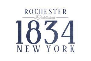 Rochester, New York - Established Date (Blue) by Lantern Press