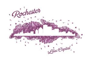 Rochester, New York - Lilac Skyline by Lantern Press