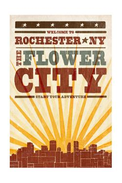 Rochester, New York - Skyline and Sunburst Screenprint Style by Lantern Press