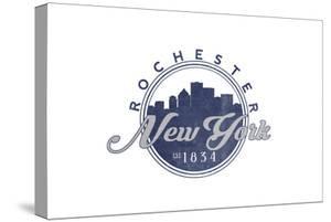 Rochester, New York - Skyline Seal (Blue) by Lantern Press