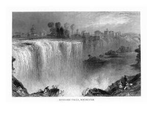 Rochester, New York, View of Genessee Falls by Lantern Press