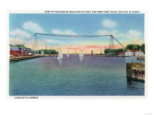 Rochester, NY - Charlotte Harbor View of Rochester Port and NY Naval Militia by Lantern Press