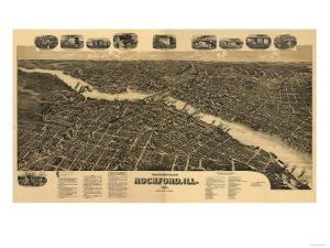 Rockford, Illinois - Panoramic Map by Lantern Press