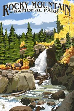 Rocky Mountain National Park, Colorado - Elk and Waterfall by Lantern Press