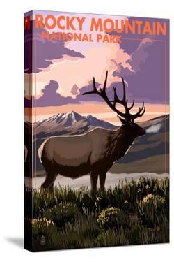 Rocky Mountain National Park - Elk and Sunset by Lantern Press