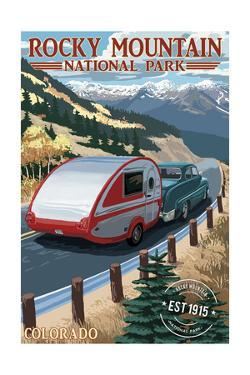 Rocky Mountain National Park - Retro Camper - Rubber Stamp by Lantern Press