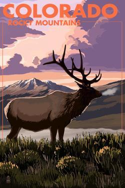 Rocky Mountains, Colorado - Elk and Sunset by Lantern Press