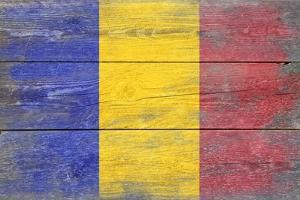 Romania Country Flag - Barnwood Painting by Lantern Press