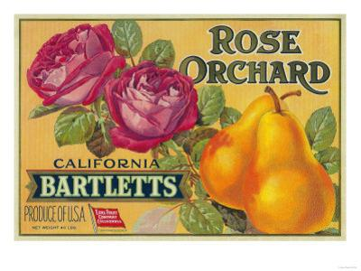 Rose Orchard Pear Crate Label - San Francisco, CA by Lantern Press