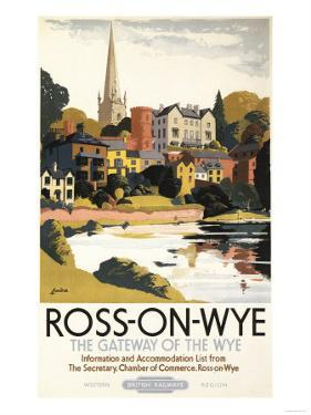 Ross-on-Wye, England - River Scene of Town British Railways Poster by Lantern Press