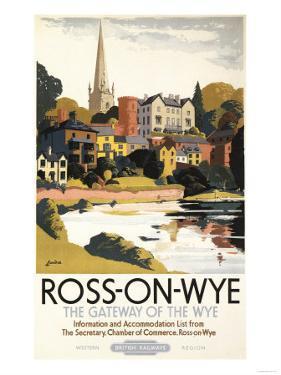 Ross-on-Wye, England - River Scene of Town British Railways Poster by Lantern Press
