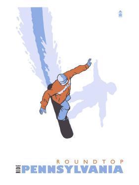 Roundtop, Pennsylvania, Stylized Snowboarder by Lantern Press