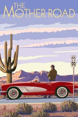 Route 66 - Corvette by Lantern Press