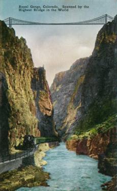 Royal Gorge, Colorado, View of the Bridge and Denver and Rio Grand Railroad Train by Lantern Press
