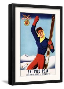 Rutland, Vermont - Flexible Flyer Pin-Up Skiing Girl Promotional Poster by Lantern Press
