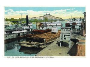 Sacramento, California - Sacramento River Shipping Scene by Lantern Press