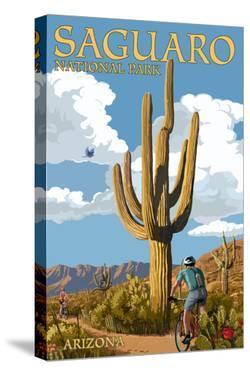 Saguaro National Park, Arizona - Bicycling Scene by Lantern Press