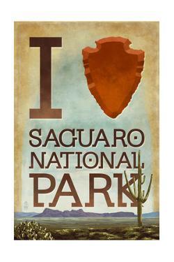 Saguaro National Park, Arizona - I Heart Saguaro by Lantern Press