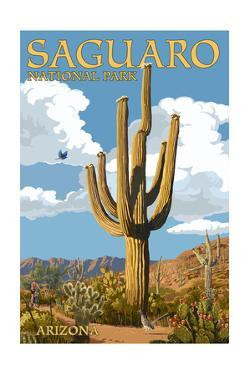 Saguaro National Park, Arizona - Roadrunner and Trail by Lantern Press