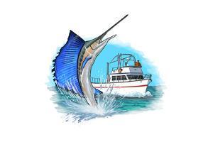Sailfish and Fishing Boat - Icon by Lantern Press