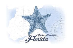 Saint Augustine, Florida - Starfish - Blue - Coastal Icon by Lantern Press