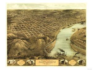 Saint Joseph, Missouri - Panoramic Map by Lantern Press
