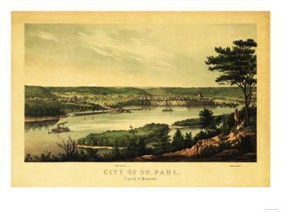 Saint Paul, Minnesota - Panoramic Map by Lantern Press