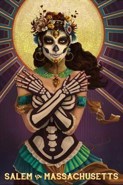Salem, Massachusetts - Day of the Dead Crossbones by Lantern Press