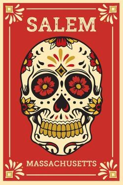 Salem, Massachusetts - Day of the Dead - Sugar Skull and Flower Pattern by Lantern Press
