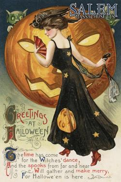 Salem, Massachusetts - Halloween Greeting - Witch Dancing and Pumpkin - Vintage Artwork by Lantern Press