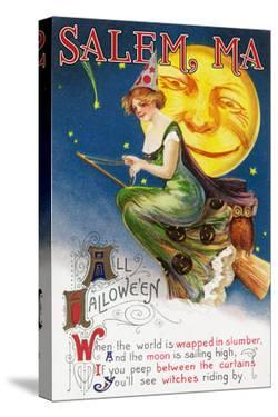 Salem, Massachusetts - Halloween Greeting - Witch on a Broom by Full Moon - Vintage Artwork by Lantern Press