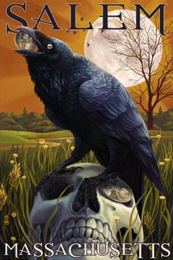 Salem, Massachusetts - Raven and Skull by Lantern Press