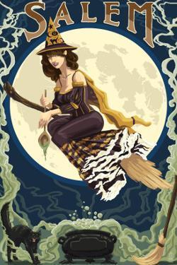Salem, Massachusetts - Witch Scene by Lantern Press