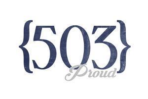 Salem, Oregon - 503 Area Code (Blue) by Lantern Press