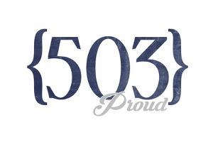 Salem, Oregon - 503 Area Code (Blue) by Lantern Press