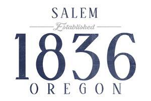 Salem, Oregon - Established Date (Blue) by Lantern Press