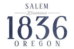 Salem, Oregon - Established Date (Blue) by Lantern Press