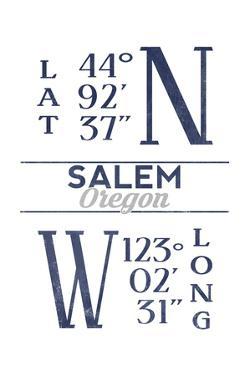 Salem, Oregon - Latitude and Longitude (Blue) by Lantern Press